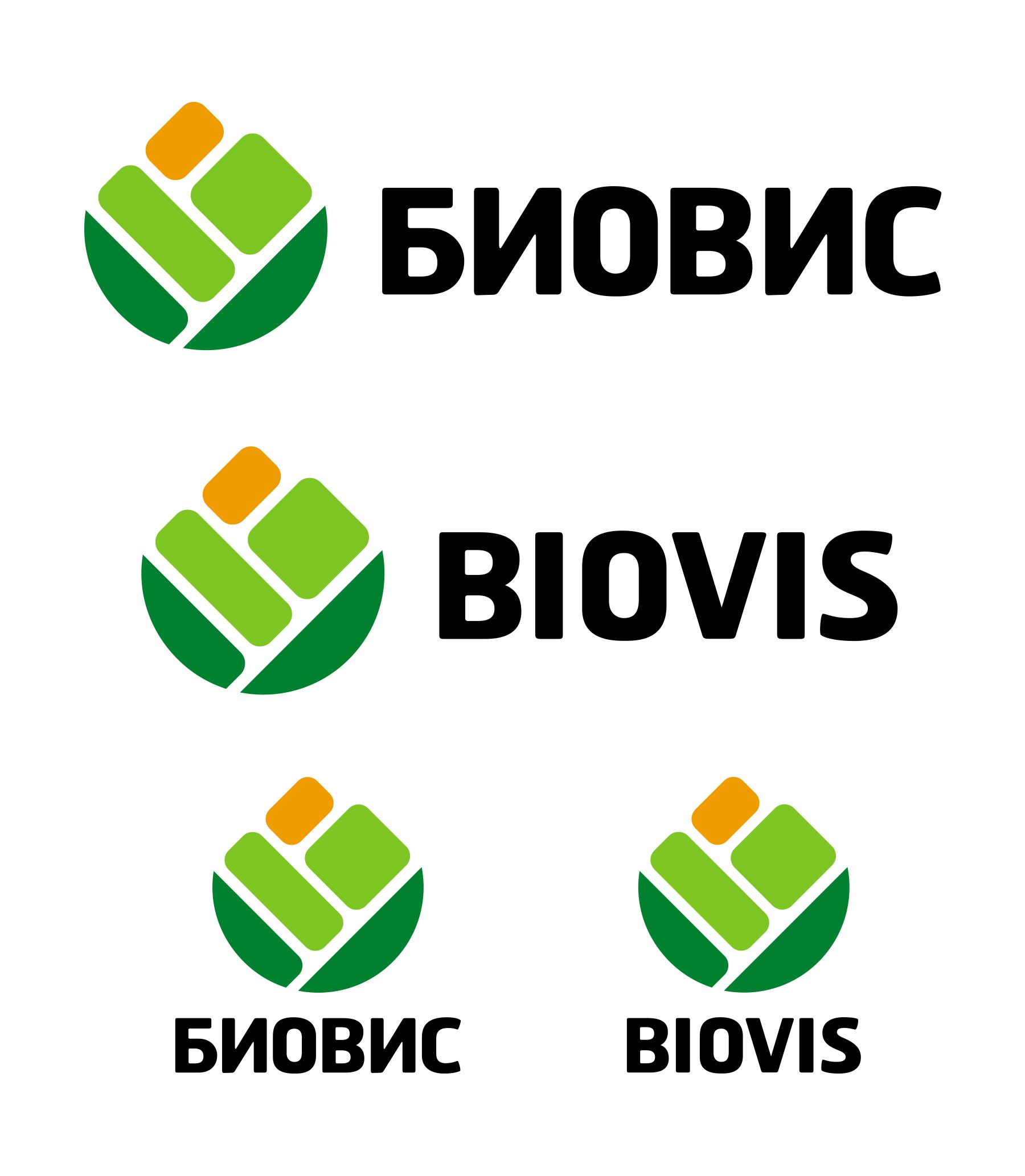 Графичен знак и логотип. Биовис. Латиница и кирилица.