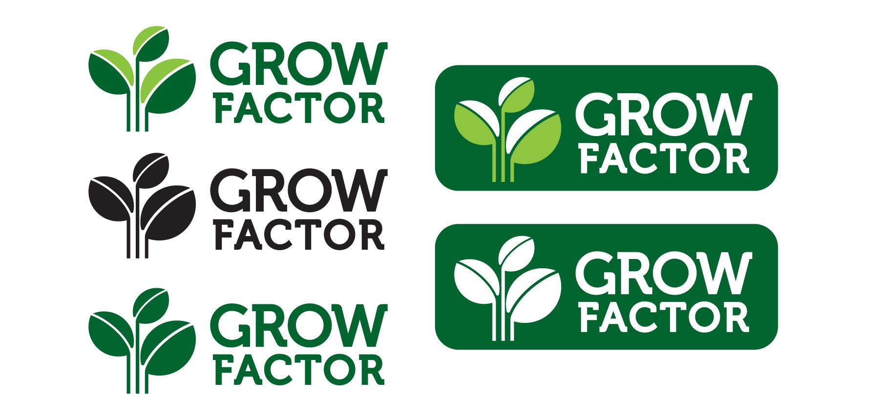 Grow Factor. Цветен и монохромен вариант.