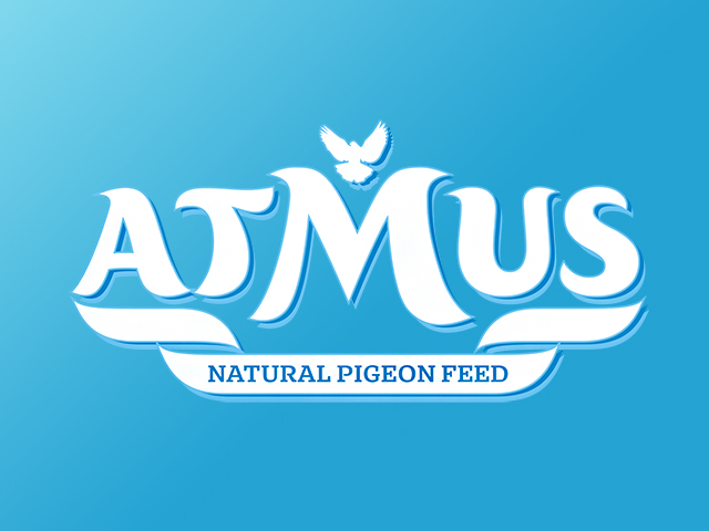 Дизайн на търговска марка за храна за гълъби Atmus.