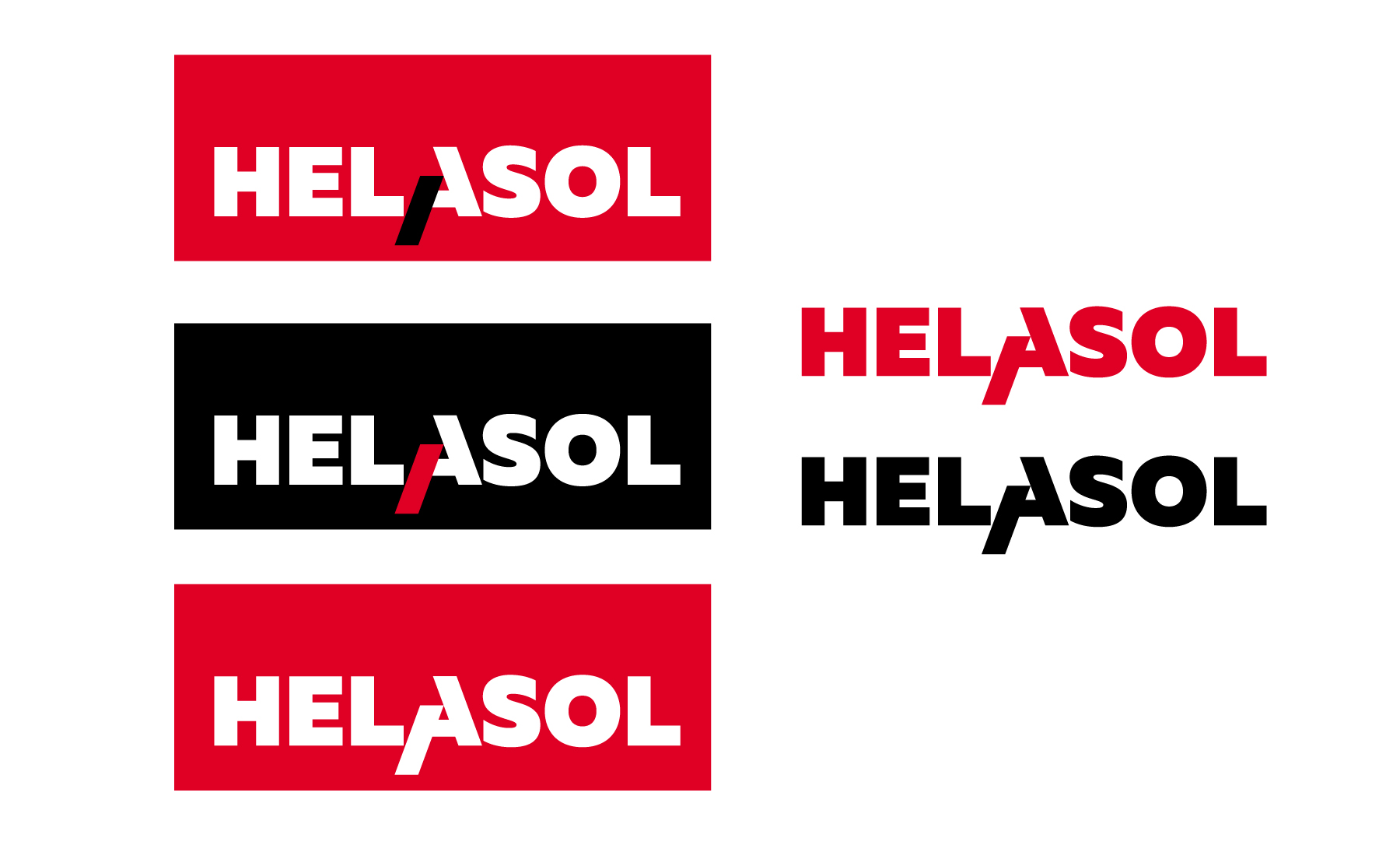 Helasol. Графичен знак и логотип. Цветен и монохромен вариант.