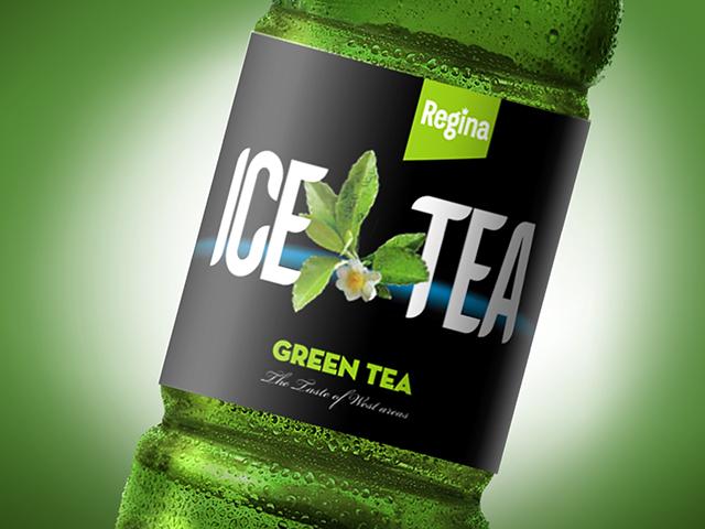 Regina Ice Tea. Label design and trademark. Client: Sport biofoods