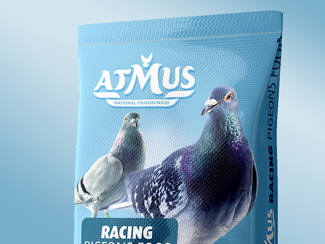 Atmus pigeon food packaging design series. Client: Saminvest