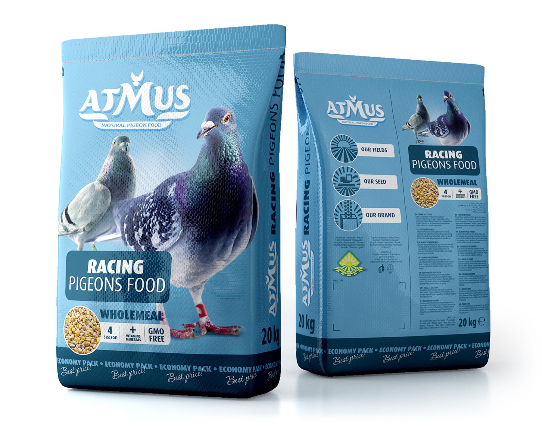 Опаковки за храна за гълъби Atmus.