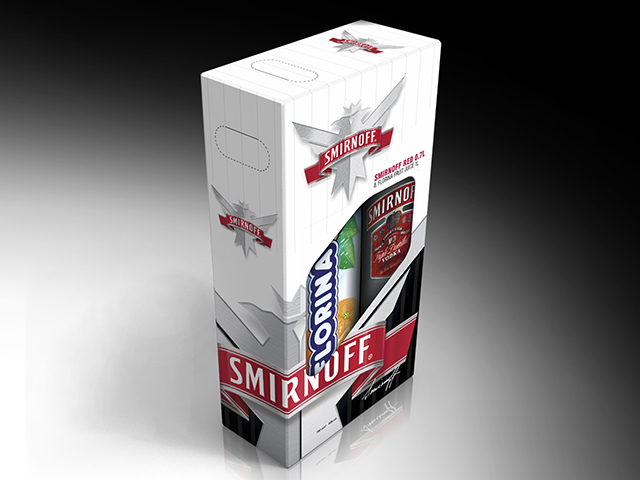 Smirnoff Promo box. Designand prepress. Client: A-Team