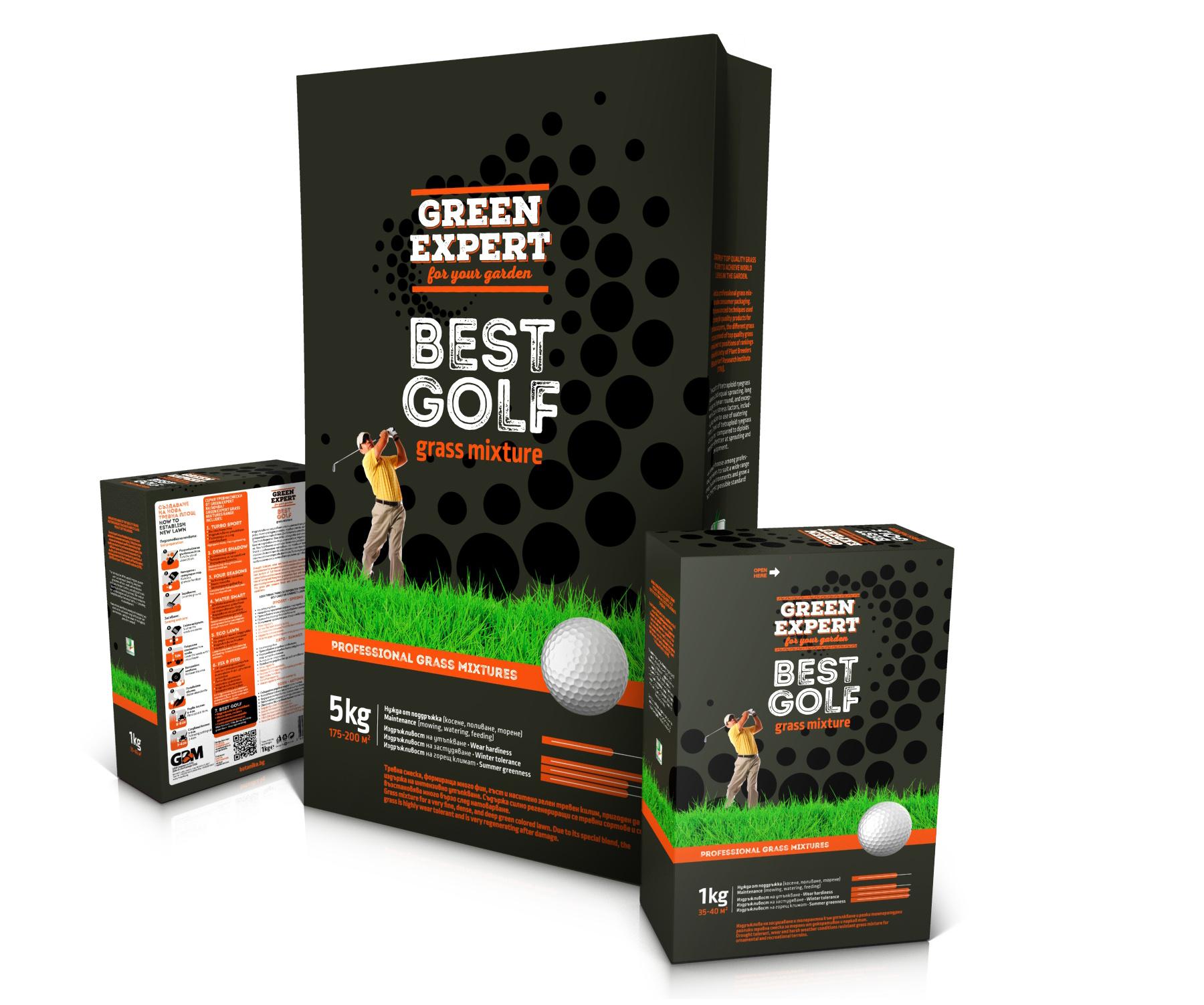Green Expert Best Golf. Серия опаковки за тревни смески.Клиент: Джи Би Ем Комерс