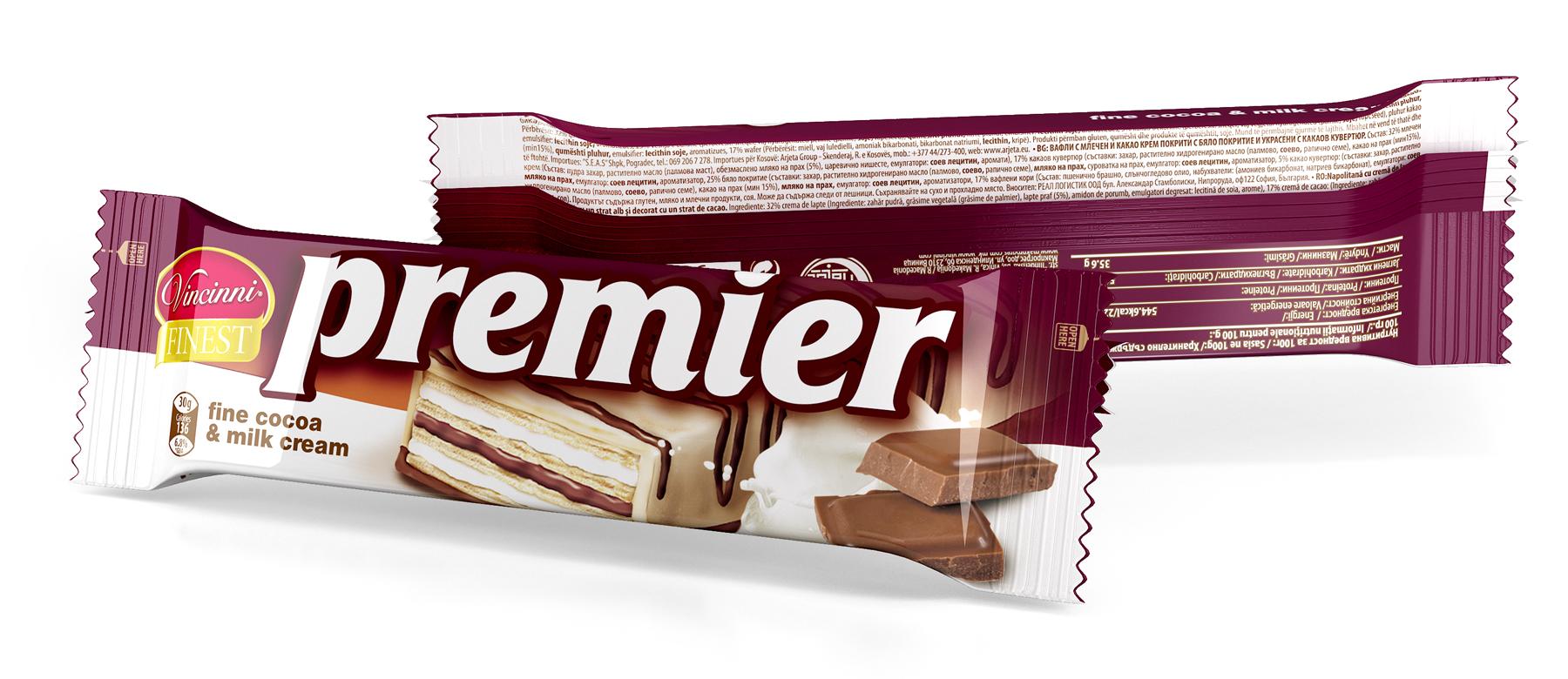 Опаковка на вафли Premier. Дизайн и предпечат. Клиент: Макпрогрес