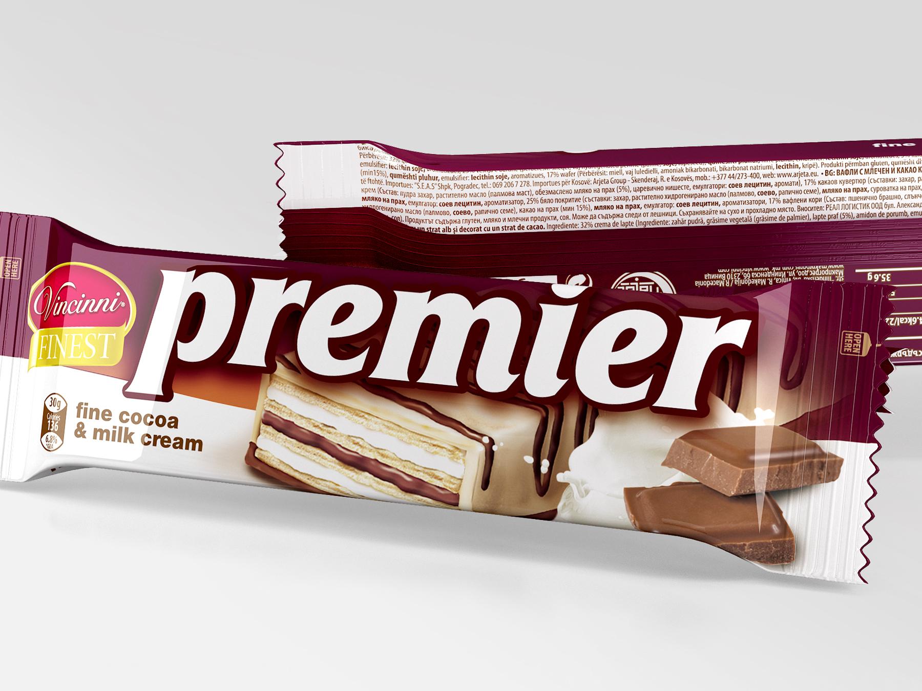 Vincninni Premier wafers packaging design. Client: Makprogres