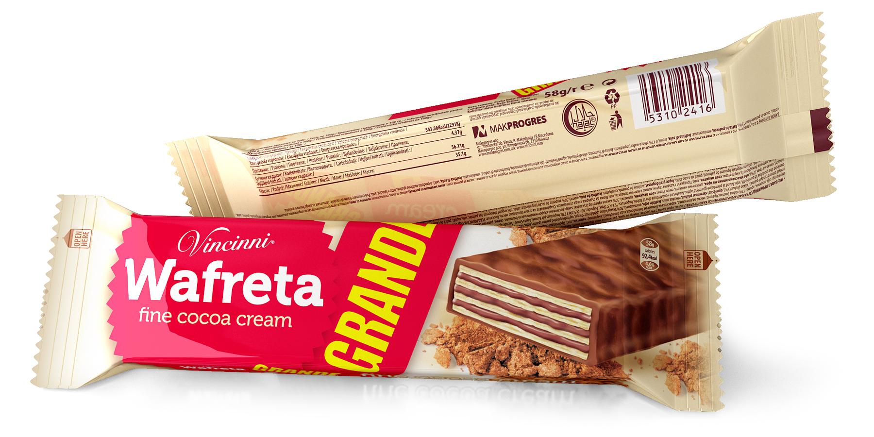 Опаковка на вафли Wafreta Grande. Дизайн и предпечат. Клиент: Макпрогрес