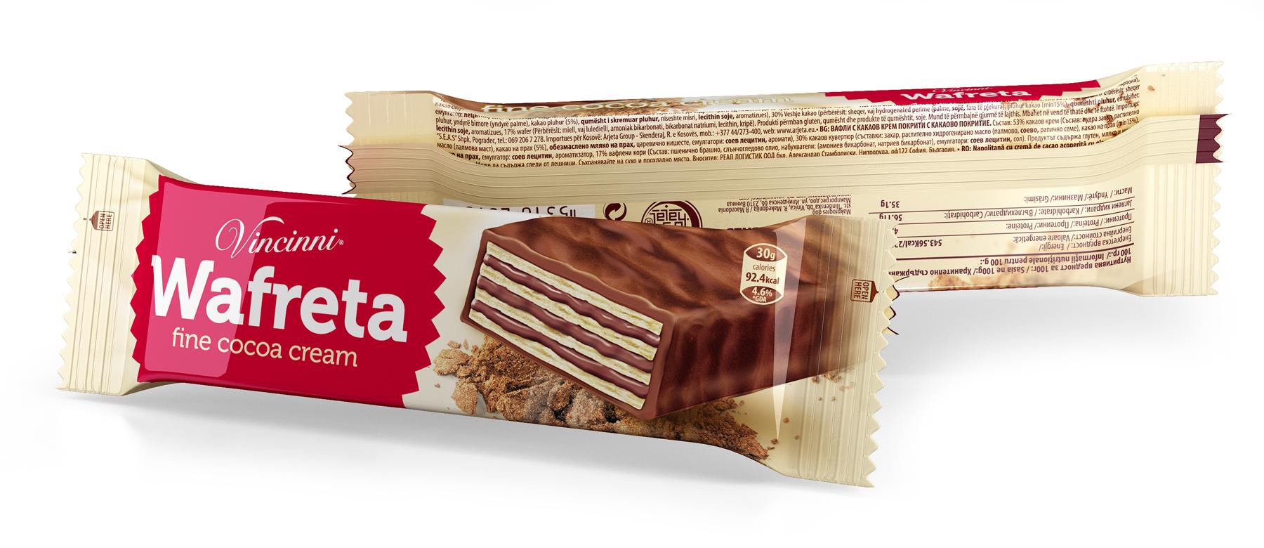Дизайн на опаковка за вафли Wafreta. Vincinni. Клиент: Макпрогрес