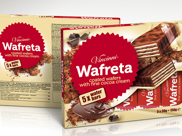 Wafreta box. Design and prepress. Client: Makprogres