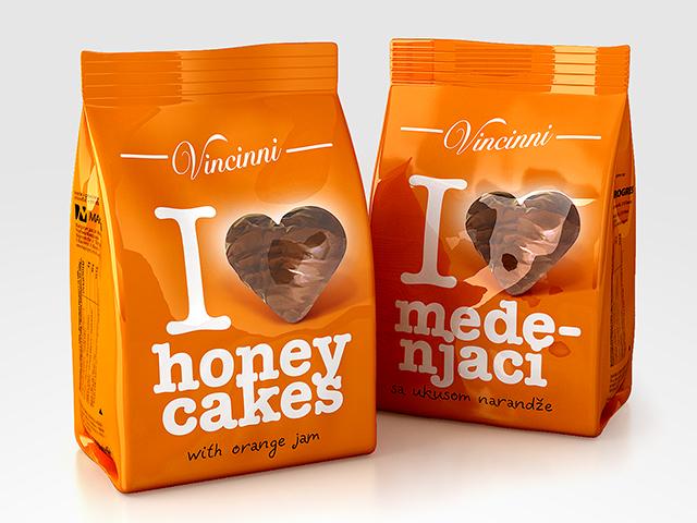 Vinncinni Honey cakes packaging design and prepress. Client: Makprogres
