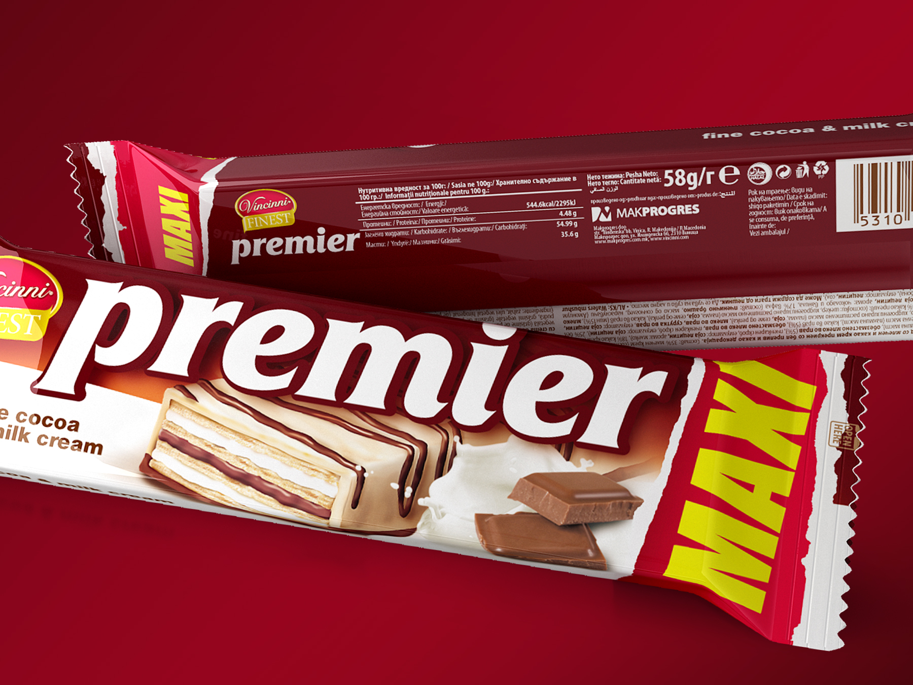 Premier maxi wafers packaging design. Client: Makprogres