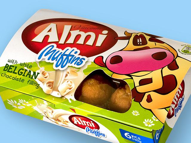 Almi Muffins. Редизайн, търговска марка и предпечат.Клиент: Макпрогрес