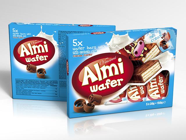 Almi wafer box. Packaging design and prepress. Client: Makprogres