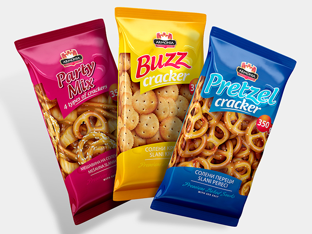 Armonia crackers. Packaging design series. Client: Makrprogres