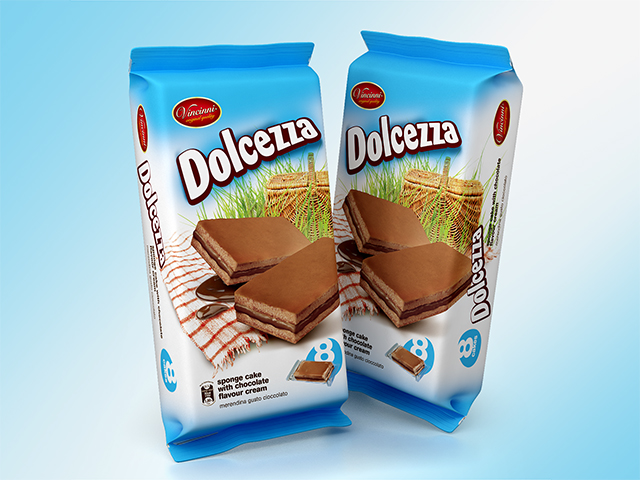 Dolcezza cake bar packaging. Redesign, illustration and prepress.