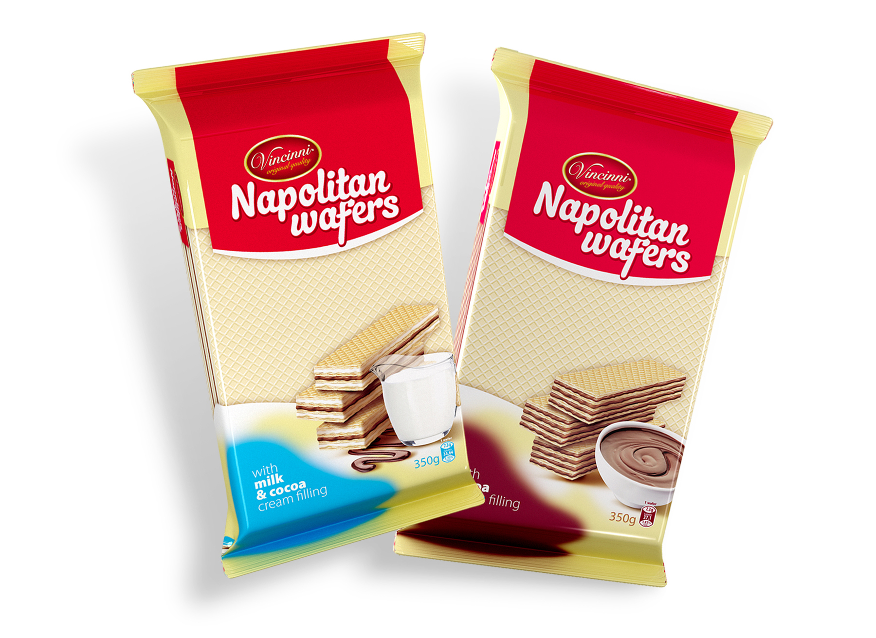 Серия опаковки за вафли Vincinni Napolitan Wafers 350 milk and cocoa. Клиент:Макпрогрес