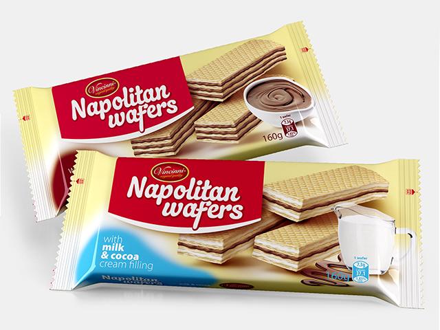 Napolitan Wafers 160 g. Graphic design and prepress. Client: Makprogres