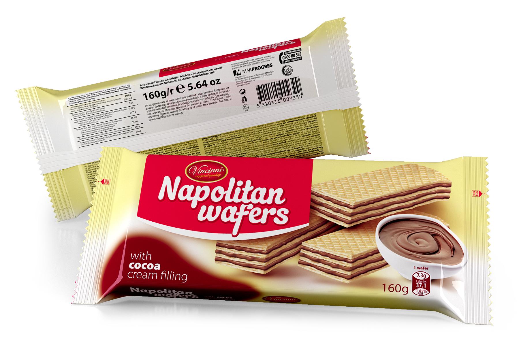 Napolitan wafers 160 g Cocoa