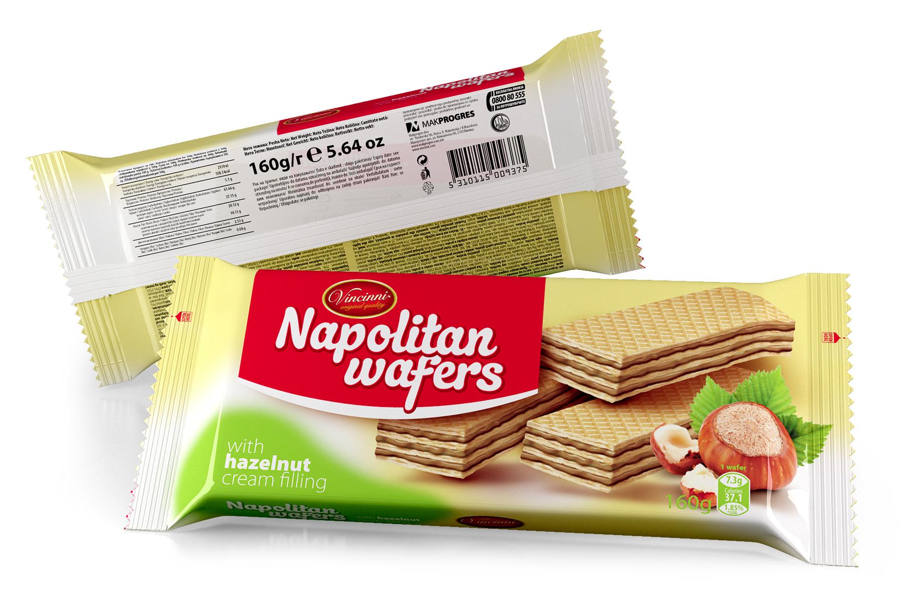Napolitan wafers 160 g Hazelnut