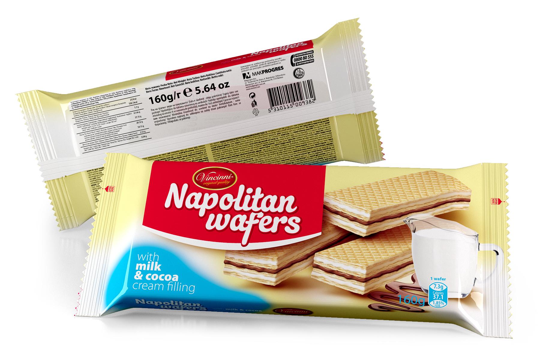 Napolitan wafers 160 g Milk & Cocoa
