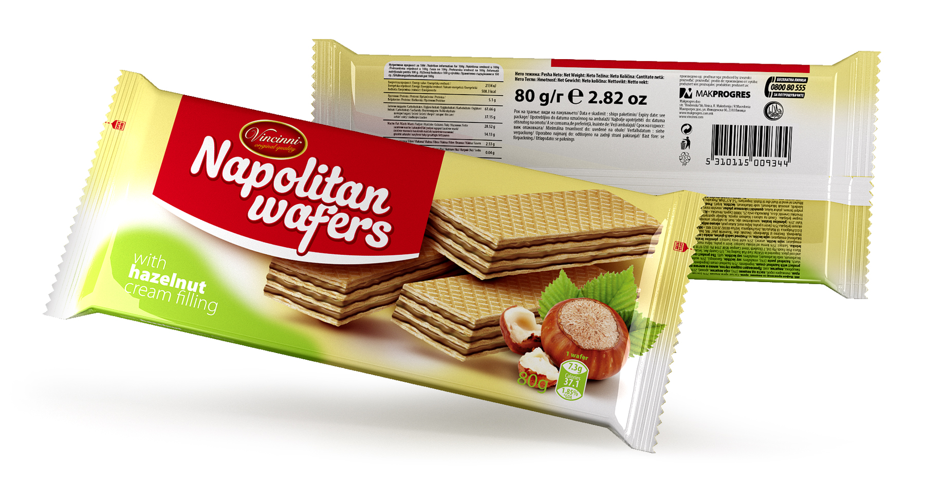 Napolitan wafers 80 g Hazelnut