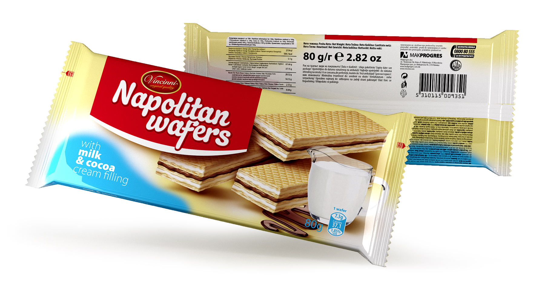 Napolitan wafers 80 g Milk & Cocoa
