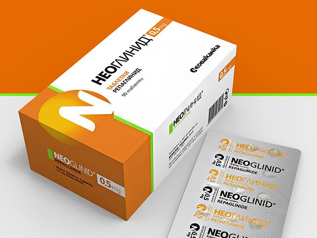 Опаковки,  блистери и листовки за лекарствен продукт Неоглинид. Клиент: Необалканика
