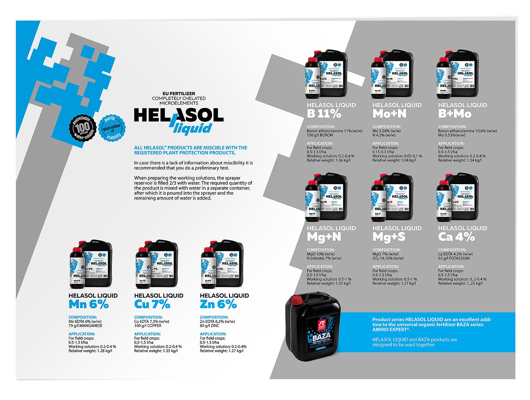 Рекламно-информационна дипляна за продуктите с марка Helasol.